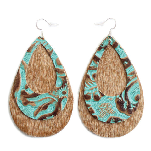 The Double Eclipse Hair On Leather Earring in Tooled Turquoise Over Light Tan
