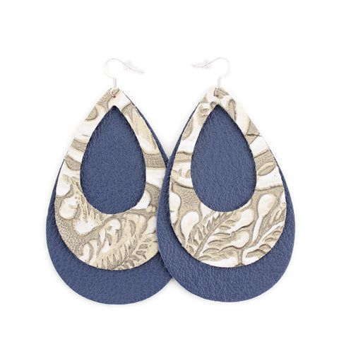 The Double Eclipse Leather Earring in Tooled Grey over Navy