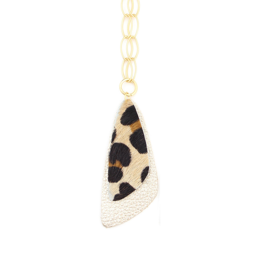 The Double Descent Necklace in Leopard Over Gold Large