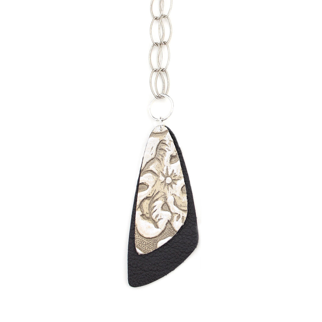 The Double Descent Necklace in Tooled Grey Over Black Large