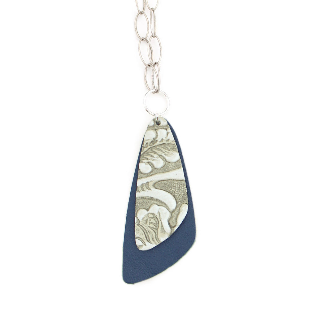 The Double Descent Necklace in Tooled Grey Over Navy Large