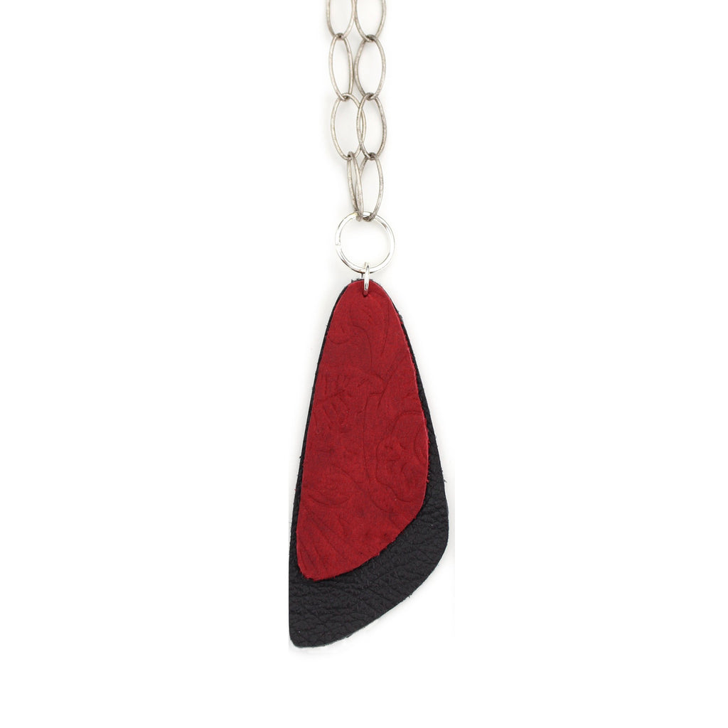 The Double Descent Necklace in Tooled Red Over Black Large