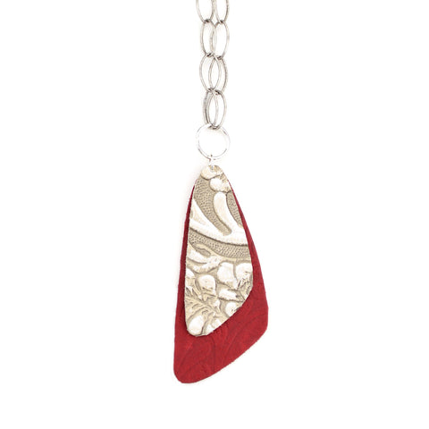 The Double Descent Necklace in Tooled Grey Over Tooled Red Large