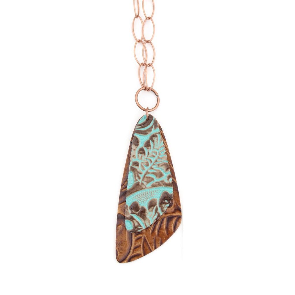 The Double Descent Necklace in Tooled Turquoise Over Tooled Brown Large