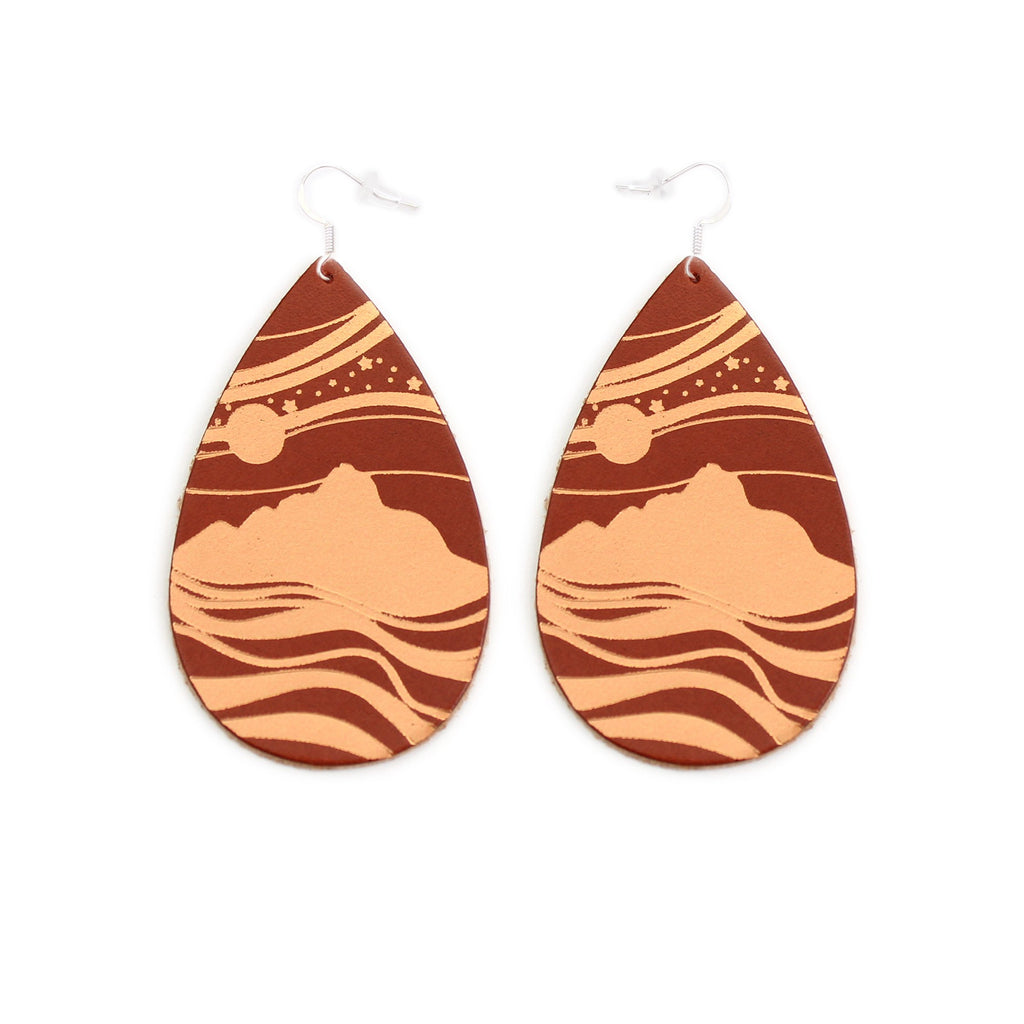 The Gateway Collection Leather Matallic Earrings - Starry Peaks on Tobacco