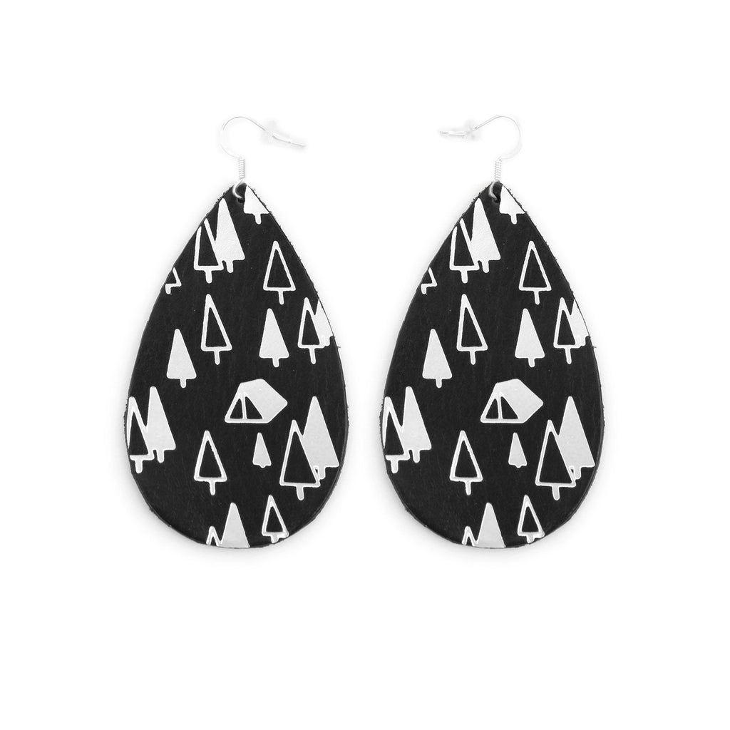 The Gateway Collection Leather Matallic Earrings - Campsite on Black
