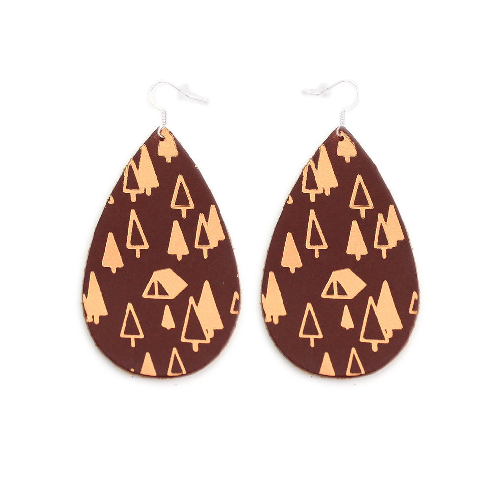 The Gateway Collection Leather Matallic Earrings - Campsite on Chestnut