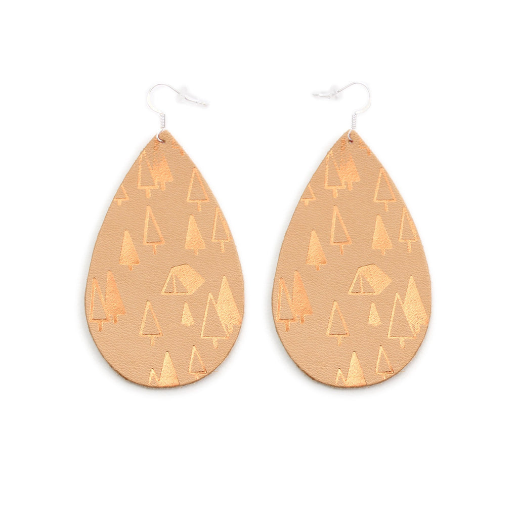 The Gateway Collection Leather Matallic Earrings - Campsite on Natural