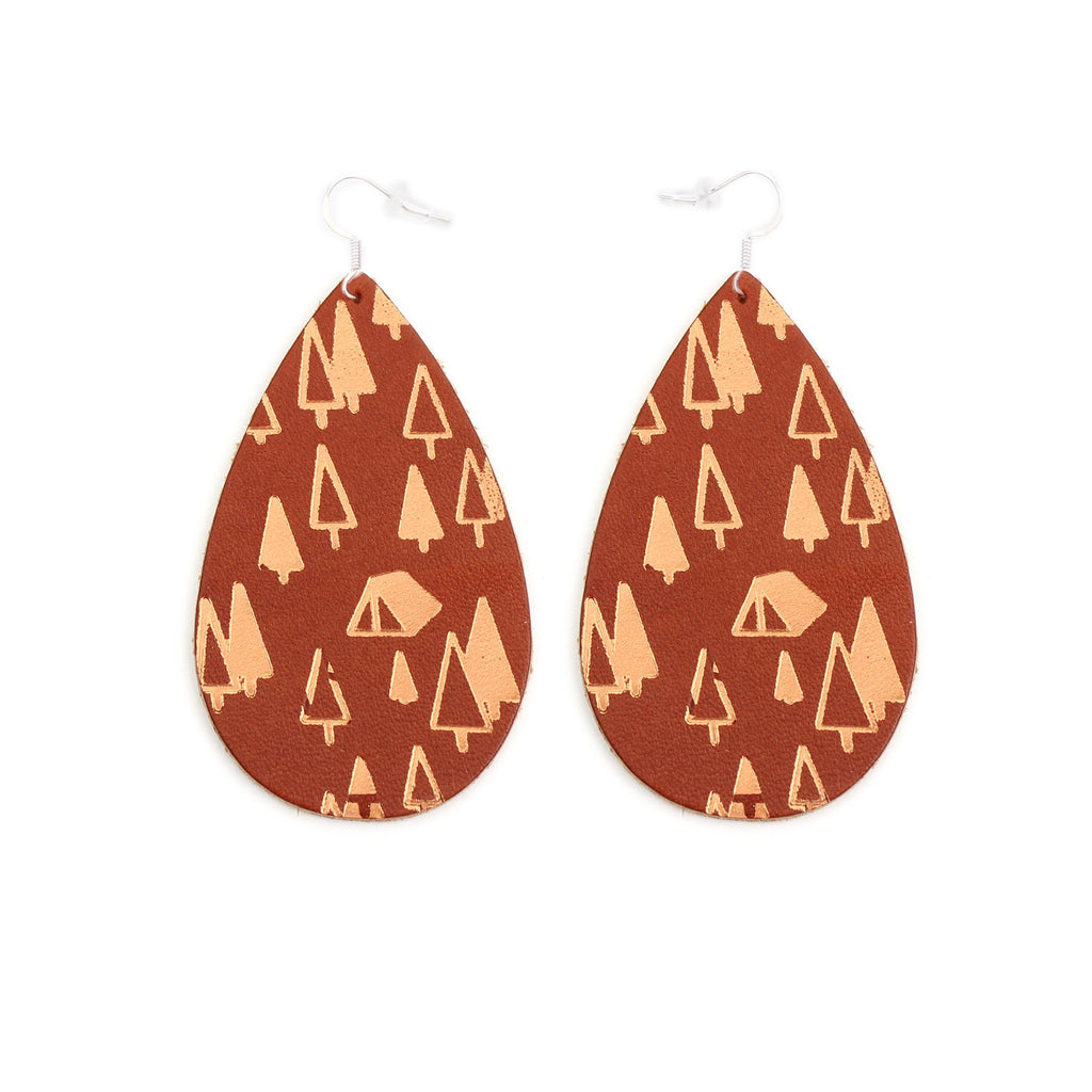 The Gateway Collection Leather Matallic Earrings - Campsite on Tobacco