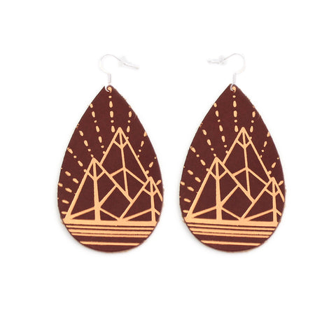 The Gatewood Collection Leather Metallic Earrings - The Jewel Mountains in Chestnut