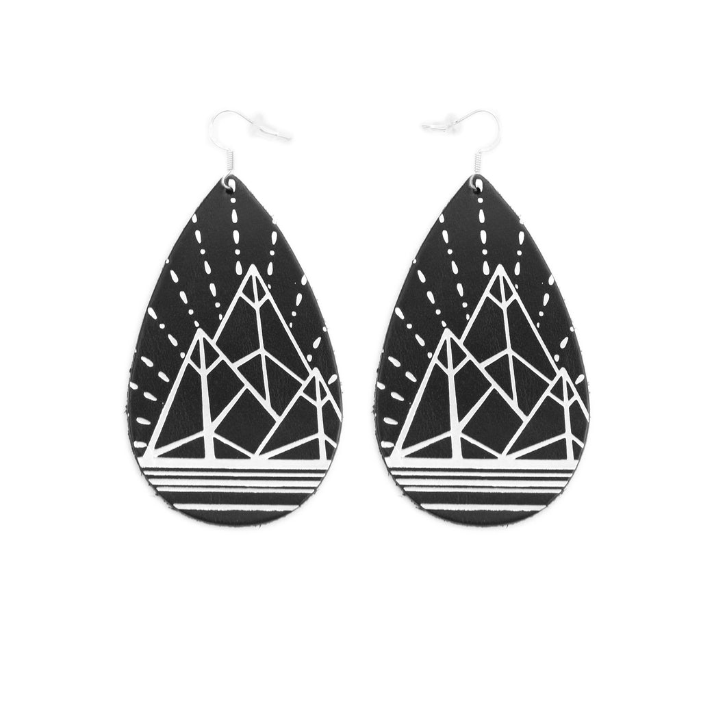 The Gatewood Collection Leather Metallic Earrings - The Jewel Mountains in Black