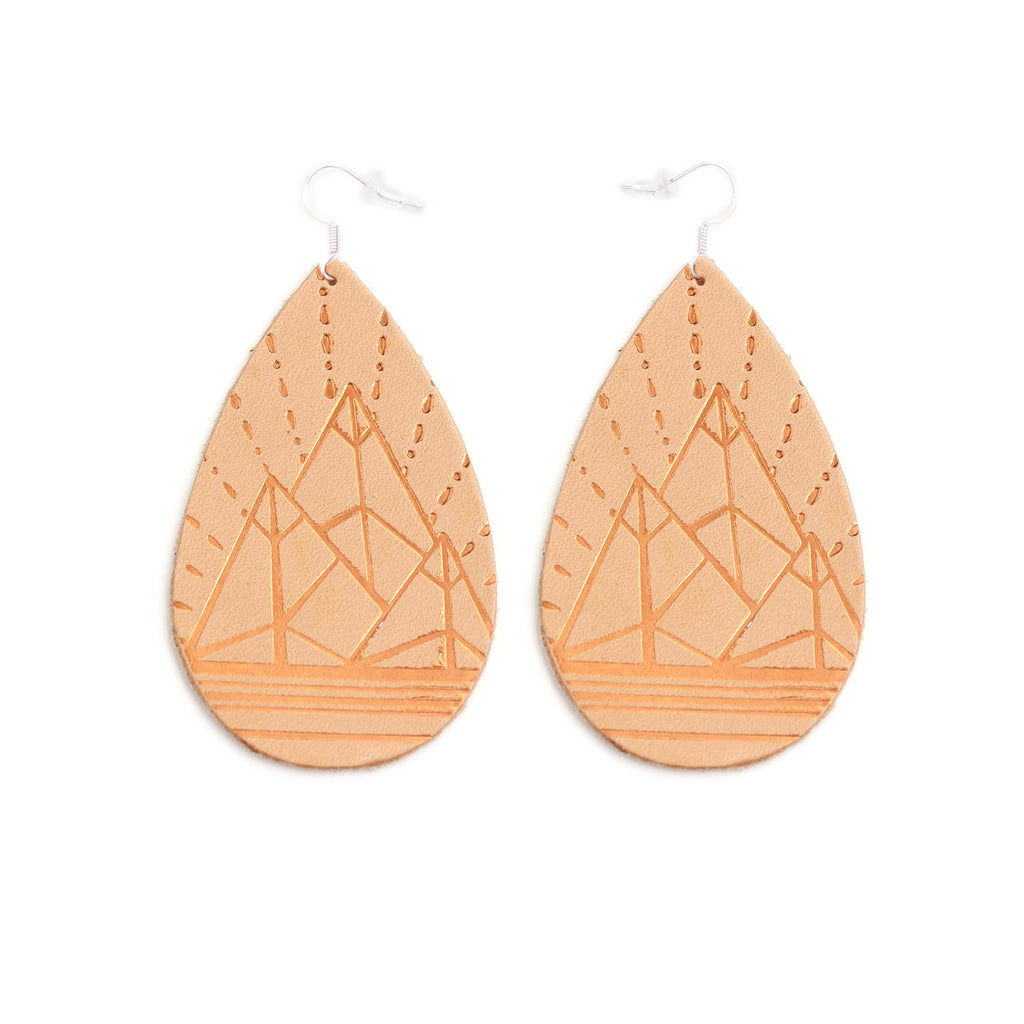 The Gateway Collection Leather Metallic Earrings - The Jewel Mountains on Natural