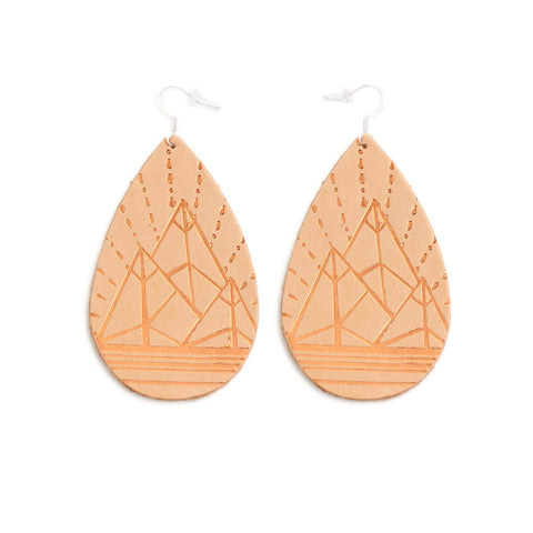 The Gatewood Collection Leather Metallic Earrings - The Jewel Mountains in Natural