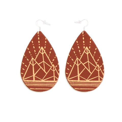 The Gatewood Collection Leather Metallic Earrings - The Jewel Mountains in Tobacco