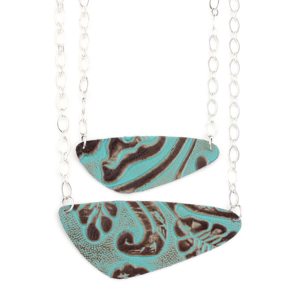 The River Rock Necklace in Tooled Turquoise