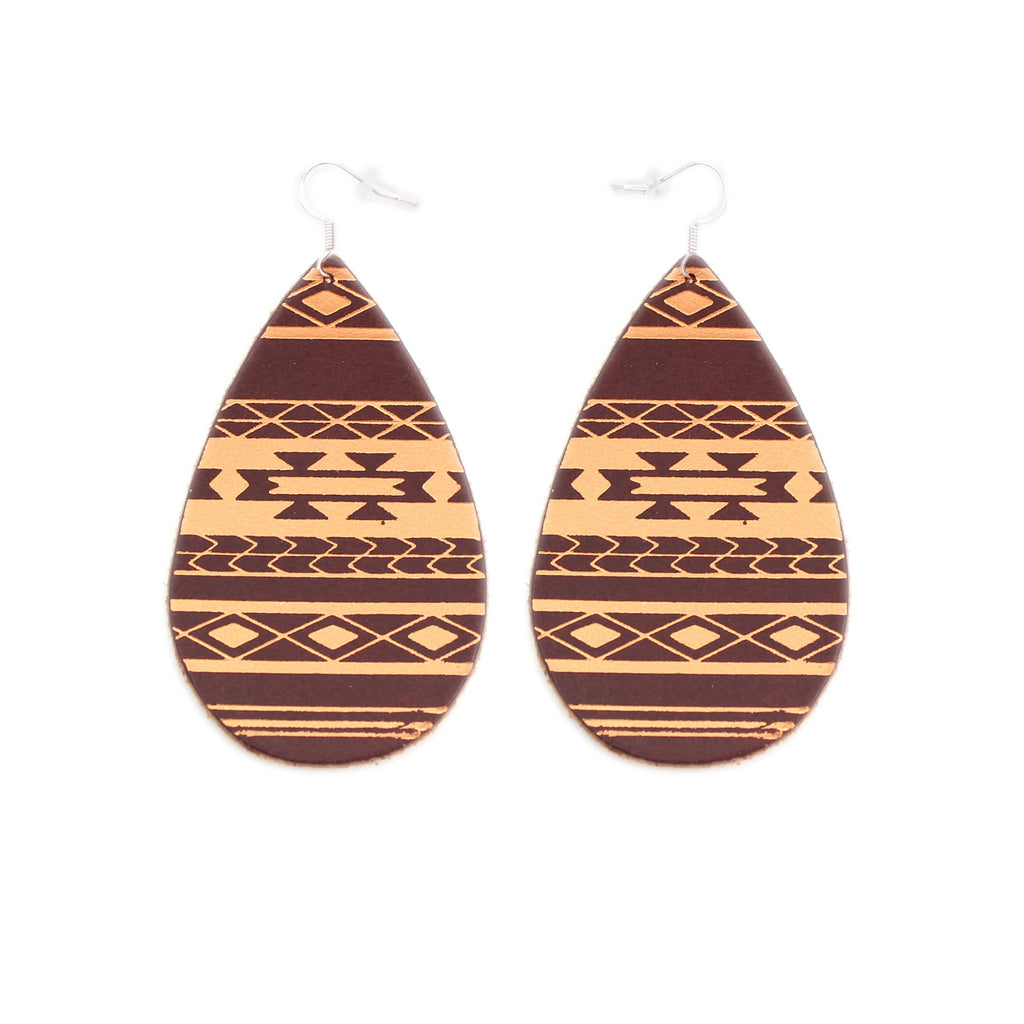 The Gateway Collection Leather Matallic Earrings - Serape on Chestnut
