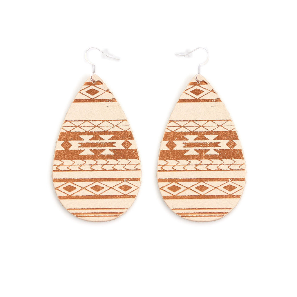 The Gateway Collection Leather Matallic Earrings - Serape on Natural
