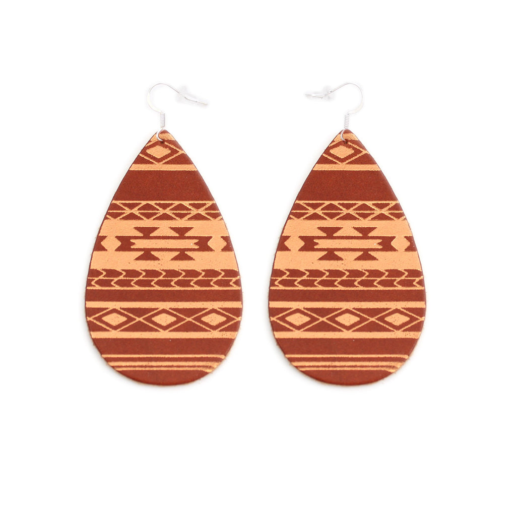 The Gateway Collection Leather Matallic Earrings - Serape on Tobacco
