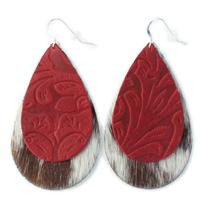 The Double Drop Leather Earrings in Tooled Red over White Brown (Hair-On) Hide.