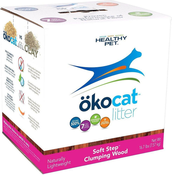 okocat Soft Step Natural Wood Clumping Cat Litter