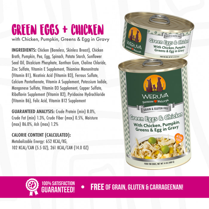 Weruva Green Eggs & Chicken with Chicken, Pumpkin, Greens & Eggs Canned Dog Food