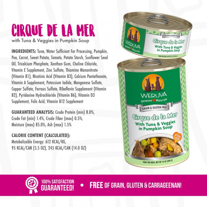 Weruva Cirque de la Mer with Tuna & Veggies in Pumpkin Soup Canned Dog Food