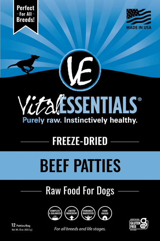Vital Essentials Beef Patties Freeze Dried Dog Food