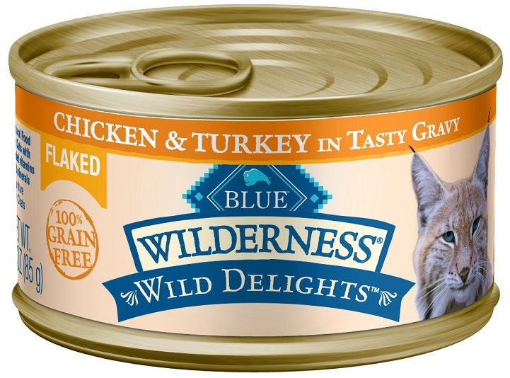 Blue Buffalo BLUE Wilderness Wild Delights Flaked Chicken and Turkey Recipe Canned Cat Food