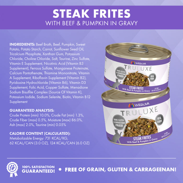 Weruva TRULUXE Steak Frites with Beef and Pumpkin in Gravy Canned Cat Food