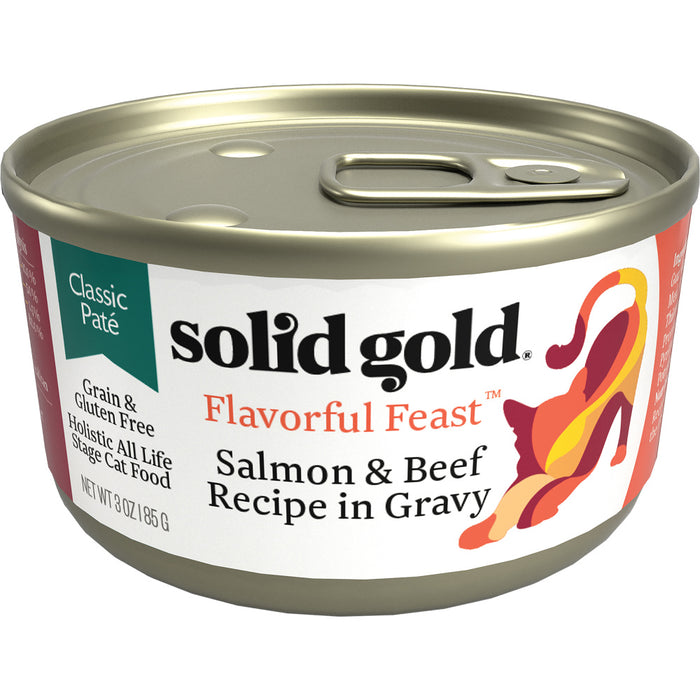 Solid Gold Flavorful Feast Grain Free Salmon & Beef in Gravy Recipe Canned Cat Food