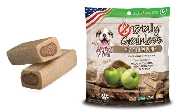 Loving Pets Totally Grainless Grain Free Chicken and Apple Recipe Meaty Chew Bones Dog Treats