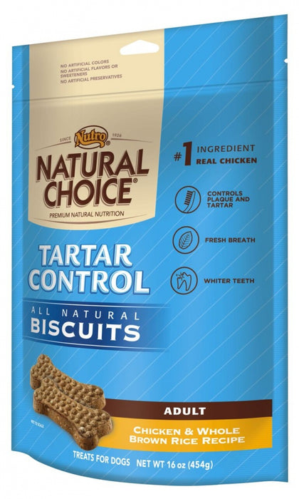 Nutro Natural Choice Adult Tartar Control Dog Biscuits Chicken and Whole Brown Rice Dog Treats