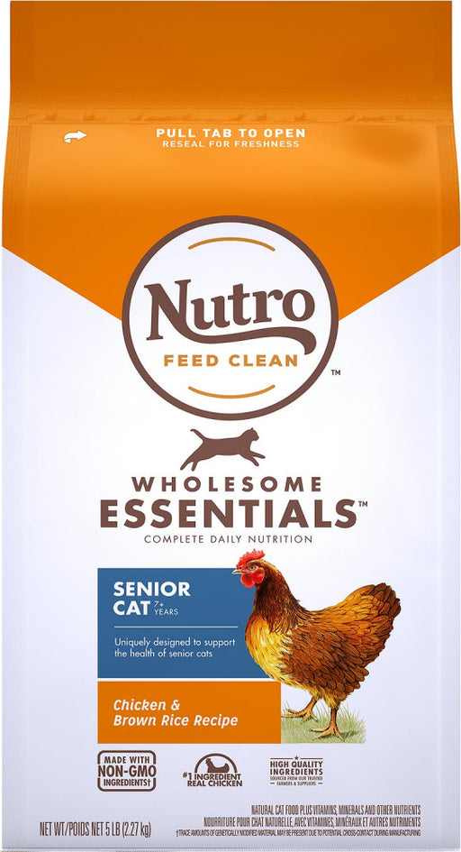 Nutro Wholesome Essentials Senior Cat Chicken and Brown Rice Dry Cat Food