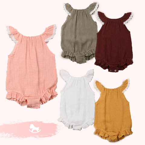Baby Fly Sleeves Lace Romper