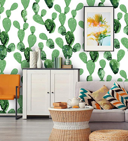 cactus wall paper baby nursery