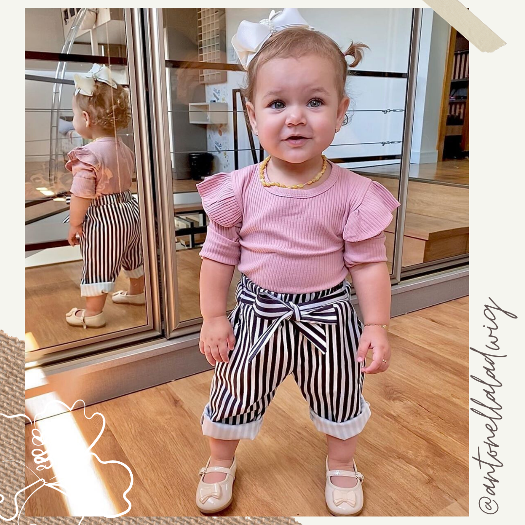 Romper with Stripe Pants