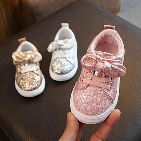 Bow Sequin Crib Shoes