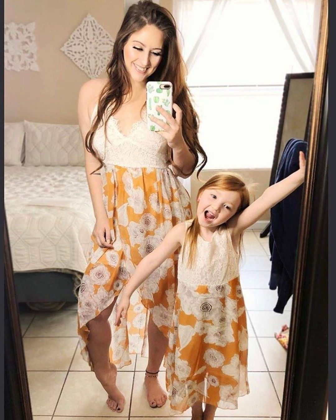 Matching Lace Floral Dress