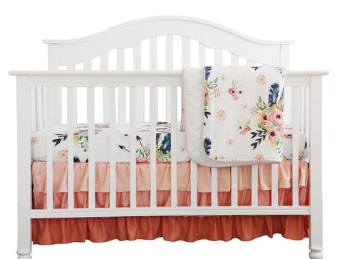 Boho Floral Feathers Baby Ruffled Bedding Set