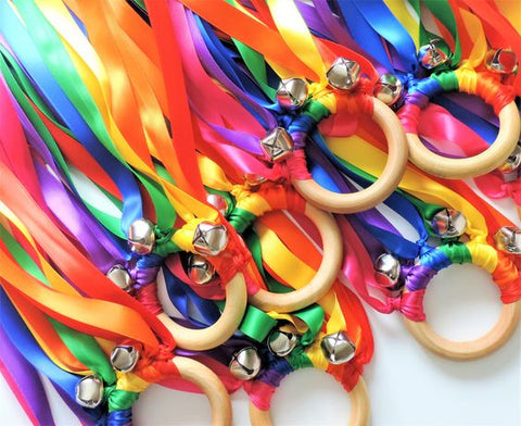 Waldorf Ribbon Hand Kite With Bell 20 pcs