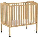 Delta Children Folding Portable Mini Baby Crib with Mattress, Natural - Cozy Nursery