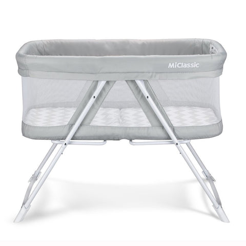 2in1 Staionary&Rock Mode Bassinet One-Second Fold Travel Crib Portable Newborn Baby,Gray