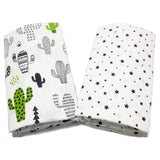 Green Cactus & Black Stars Cotton Fitted Crib Sheets (2 Pack) - Cozy Nursery