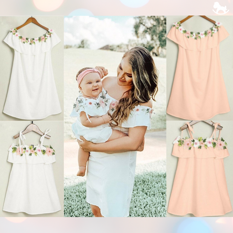 Matching Off Shoulder Flower Dress - Cozy Nursery