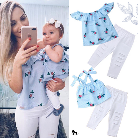 Matching Stripe Flower Blouse - Cozy Nursery
