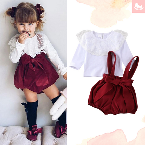Lotus Lace Bow Pants Romper