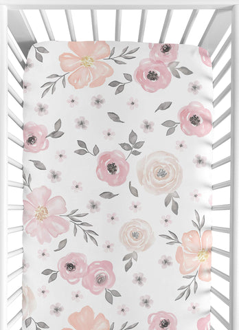 Watercolour Floral Blush Pink Baby  Fitted Crib Sheet