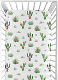 Watercolour Cactus Floral Baby Fitted Crib Sheet