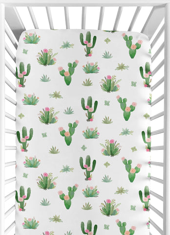 Watercolour Cactus Floral Baby Fitted Crib Sheet - Cozy Nursery