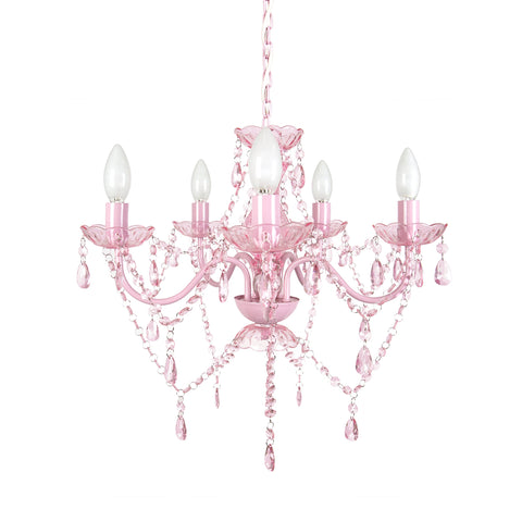 Tadpoles Vintage-Style Chandelier, Crystal Chandelier Lighting, 5-Bulb, Pink Sapphire - Cozy Nursery
